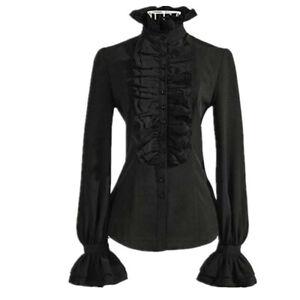 Retro-Women-Gothic-Shirt-Blouse-Tops-Lace-Ruffle-Steampunk-Victorian-Puff-Sleeve