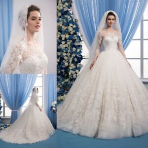 Ball-Gown-Wedding-Dresses-Plus-Size-Lace-Applique-Long-Sleeve-With-Wedding-Veil