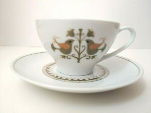Noritake-Fine-China-Hermitage-Flat-Cup-and-Saucer-Set-Birds-1-each-4-available