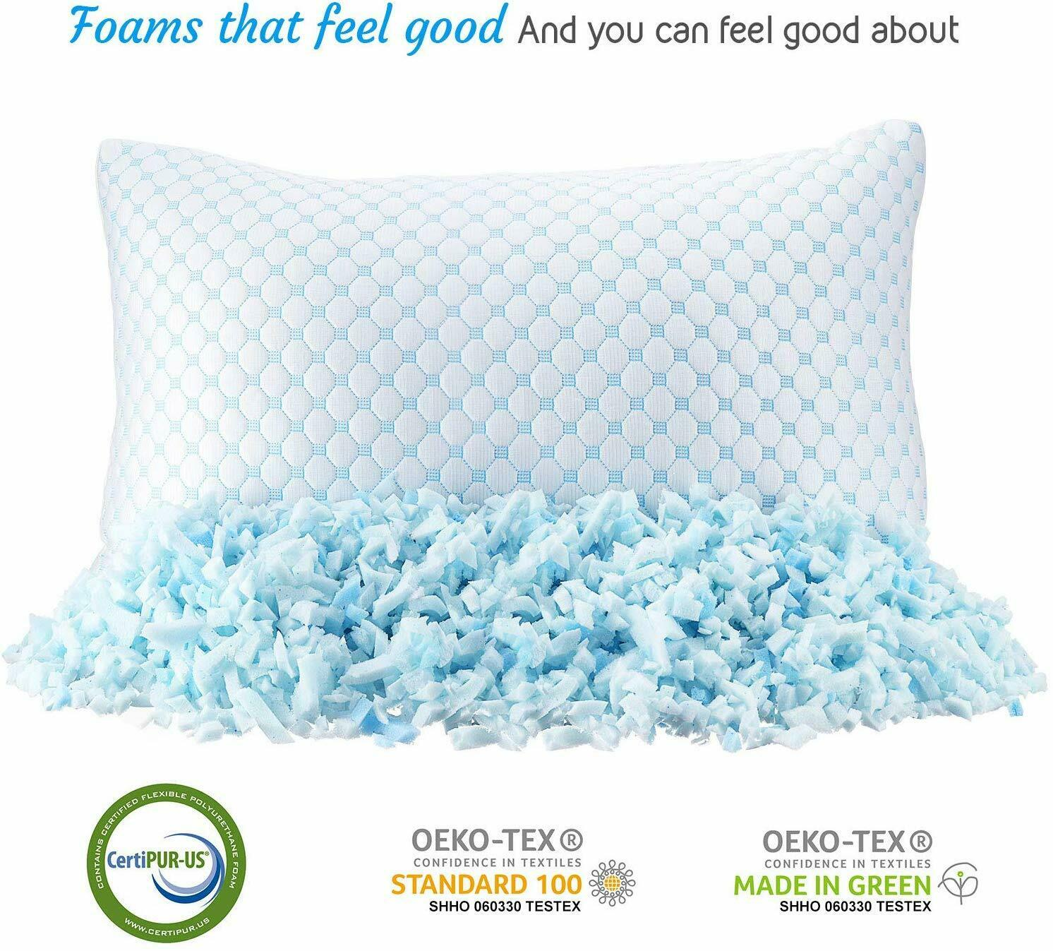 Clara Clark Gel Infused Pillow Reversible Multi-Use Cool to Velvety, King 4 Pack
