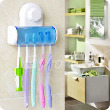 UK Home Bathroom Wall Mount 5 Toothbrush Spin Brush Suction