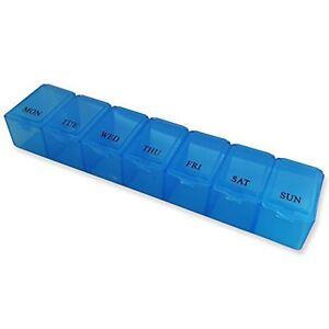 7 Slot Pill Case ~ Blue 7 Day Medication Storage Case, Organiser Dispenser Box