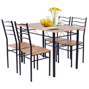 5-Piece-Dining-Table-Set-with-4-Chairs-Wood-Metal-Kitchen-Breakfast-Furniture