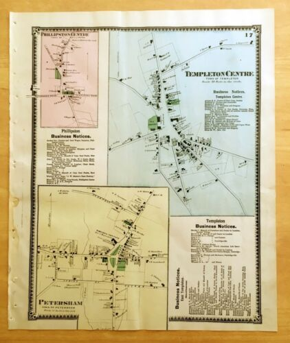 Original Antique 1870 Map TEMPLETON CENTRE Petersham + MA Massachusetts BEERS