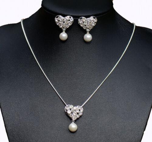 Collar Y Aretes Joyas Conjunto Perla Diamante Bodas Prom Bridal Reino Unido