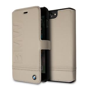 BMW-IPHONE-8-piu-amp-IPHONE-7-piu-Custodia-Taupe-Rigida-Stile-Libro-Vera-Pelle