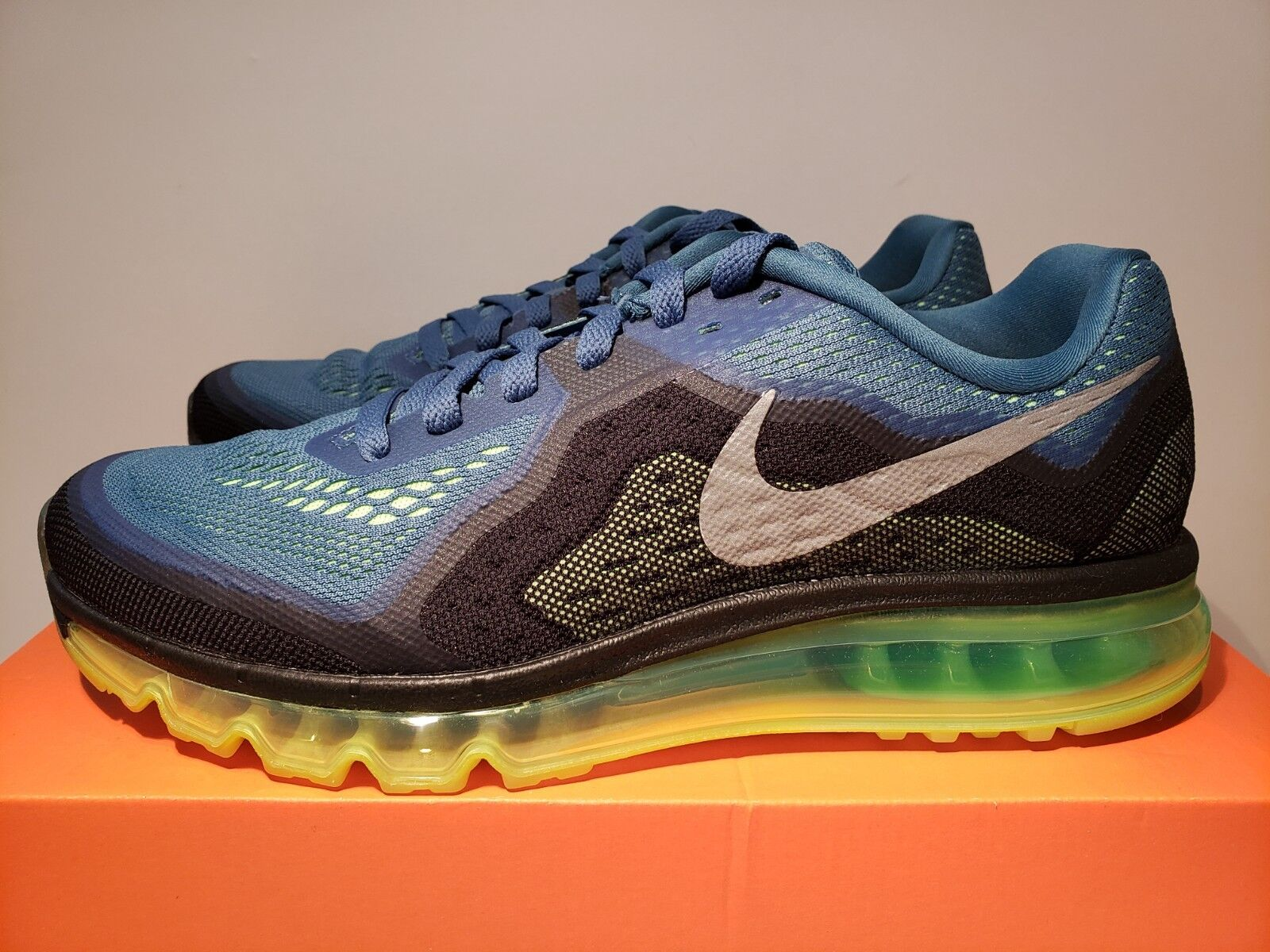 Men 's nike max' air max' nike silver/flash lime/schwarz 2014 rift Blau/reflective us - 10 c95667