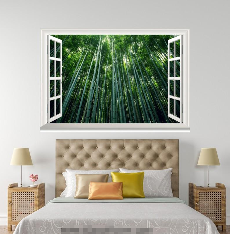 3D Grün Bamboo 879 Open Windows WallPaper Murals Wall Print Decal Deco AJ WALL