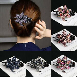 Women-039-s-Clips-Hair-Accessories-Pins-Hairpin-Grips-Crystal-Flower-Slide-Comb