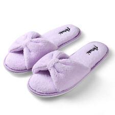 Purple Women's Open Toe Bowknot Plush Spa Slipper Indoor Bedroom Floor Shoes