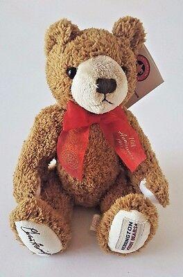 "HERRINGTON TEDDY BEARS SITTING BROWN STUFFED TEDDY BEAR W// RED RIBBON 10/"" 20TH"