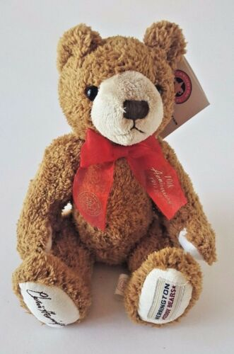 "HERRINGTON TEDDY BEARS SITTING BROWN STUFFED TEDDY BEAR W// RED RIBBON 10/"""