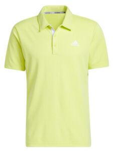 adidas Advantage Novelty Heathered Polo Shirt - Acid Yellow -  Mens