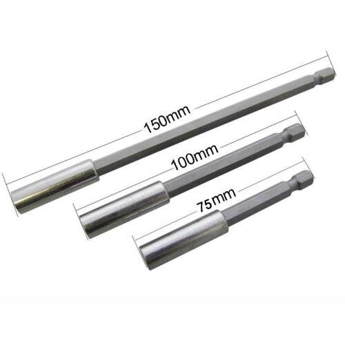 """3pcs Profi 1//4/"""" Verlängerung Magnetischer Bits Bithalter Magnet 75//100//150mm"""