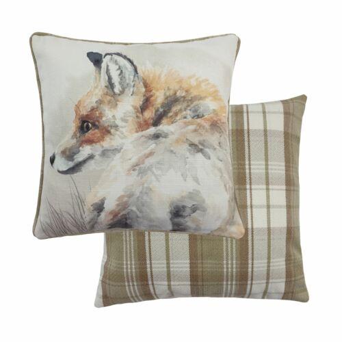 """Evans Lichfield Aquarelle Fox Beige Crème Tartan 17/"""" 43 cm Housse de coussin"""