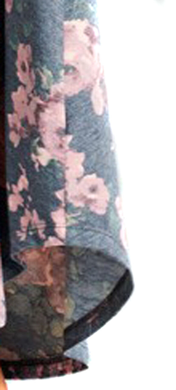 Oddi Schick Blaumenmuster Grau Fließend Knie Langärmlig Stretch Kleid Taschen Taschen Taschen 5cd2c2