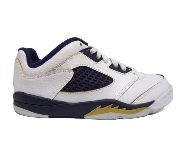 the best attitude f8190 d6816 Nike Kids' Air Jordan RETRO 5 LOW Preschool Shoes White/Gold/Navy  314339-135 a