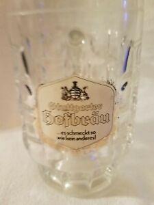 HOFBRAU STUTTGARTER .5L Dimpled Thumbprint Glass Bier Stein Mug Krug ½ Liter