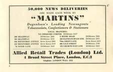 1958 Martins Dagenham Newsagents Tobacconist Allied Retail Trades Ltd Ad