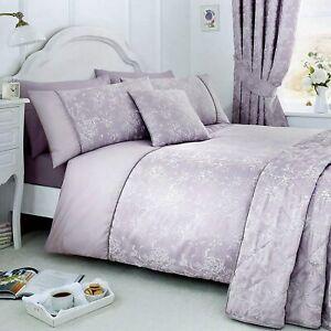 Serene Jasmine Floral Jacquard Duvet Cover Set, Lavender Purple King 5FT