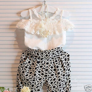 Fashion-Kids-Baby-Girls-Halter-Lace-Tops-Pants-2PCS-Summer-Clothing-Outfits-Set