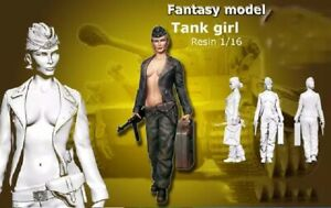 1-16-Resin-Figure-Model-Kit-German-Army-Sexy-Girl-Tank-WWII-Unassamble-Unpainted