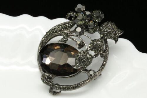 Sparkly tuilp flower gray crystal rhinestone black plate brooch pin pendant H02