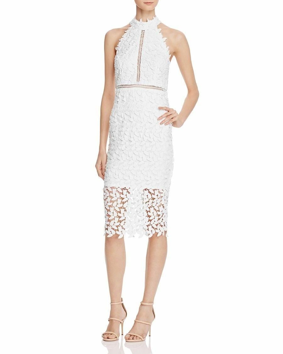 BARDOT Gemma Halter Lace Sheath Pencil Dress IvoryGröße US8  M  Open Back NWT