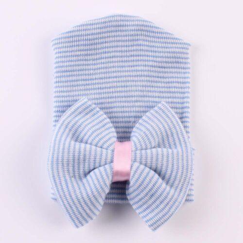 Cute Newborn Baby Infant Girl Toddler Comfy Bowknot Hospital Cap Beanie Hat