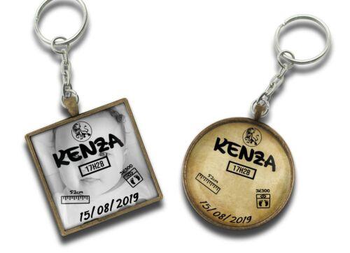 Porte-clé pendentif naissance personnalisé bébé baby keychain Cadeau