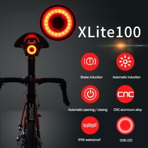 UK USB Rechargeable Bike Rear Tail Light LED Bicycle Warning Safety Smart Lamp ~