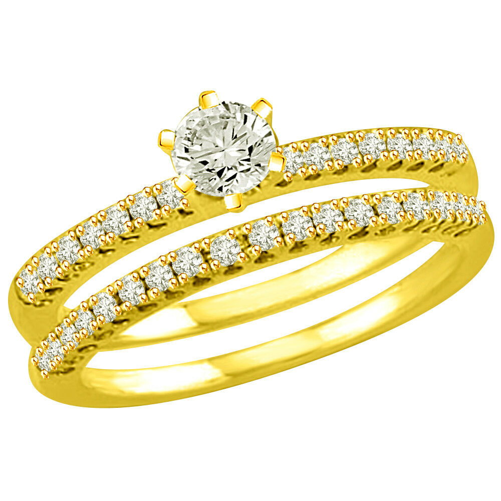 0.95 TCW K-L VS2 SDJ Cert Real Diamond Engagement Bridal Ring in 18kt Yellowgold