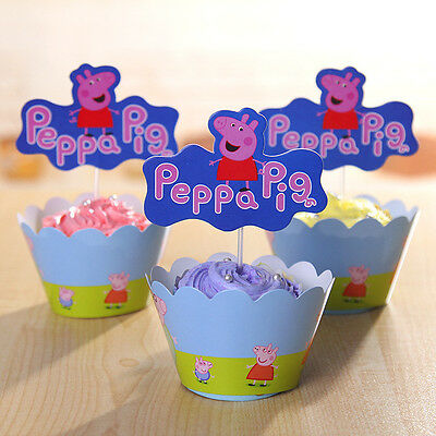 24Pcs Peppa Pig Muffin Cupcake 12 Wrappers & Toppers Kids Birthday Party Gift