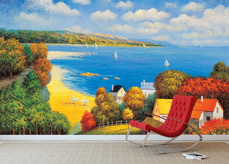 3D Strand Villa Wolken 76 Tapete Wandgemälde Tapete Tapeten Bild Familie DE