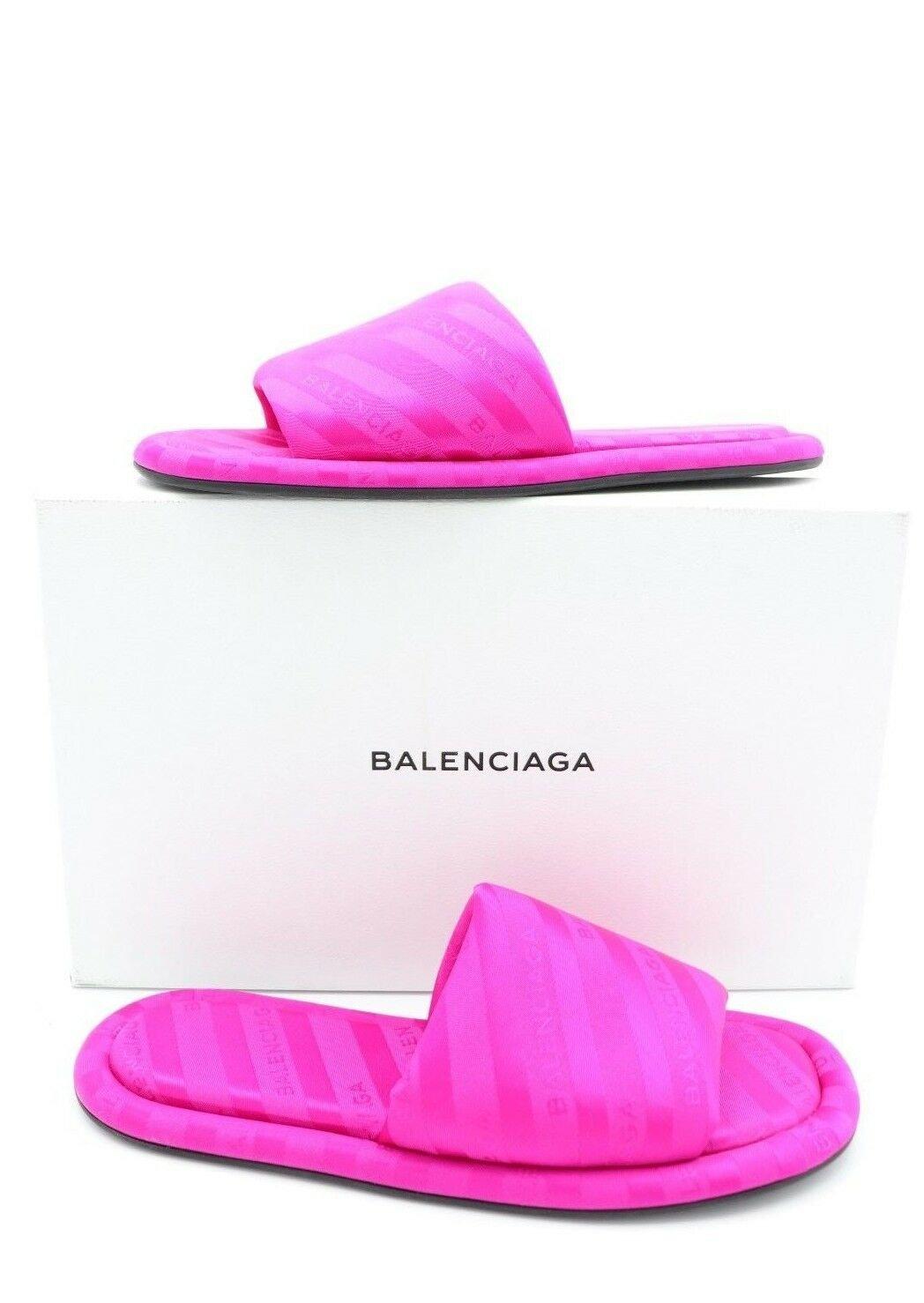 NIB BALENCIAGA Rosa Hotel Striped Logo Flat Slide Sandals 650 7 37  650 Sandals New ea68e2