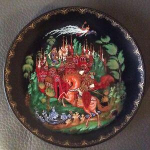 "Palekh USSR Russian Collectible Porcelain Wall Plate ""Ruslan & Luidmila"" #993"