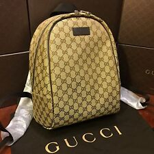 NEW Gucci Backpack Original GG Canvas Brown Leather Trim