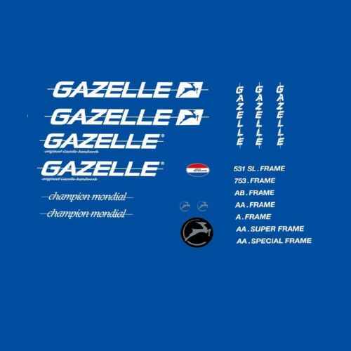 Transfers Gazelle 1980s Champion Mondial Bicycle Decals Stickers n.310