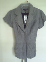 Travel Smith Gray Rayon/linen Button Short Sleeve Blouse Jacket Top Sz 4
