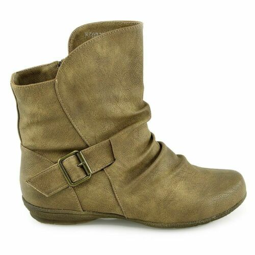 WOMENS TAUPE SLOUCH FLAT WINTER BOOTS NEW IN BOX SIZE UK 4 EU 37 FREE DELIVERY