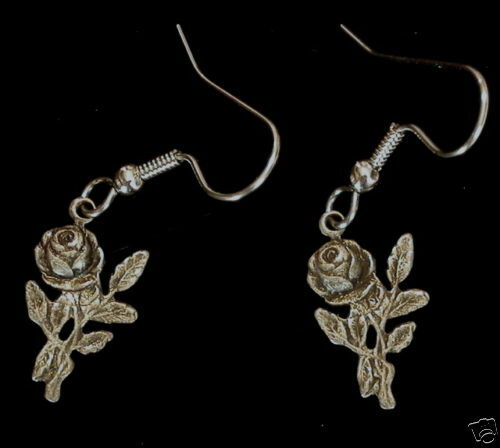 Vintage Style Long Stem Rose Earrings Matte Silver Sm