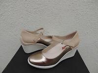 Tsubo Dreux Light Gold Leather Ankle Strap Wedge Heels, Us 10/ Eur 41