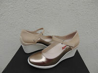 Tsubo Dreux Light Gold Leather Ankle Strap Wedge Heels, Us 10/ Eur 41