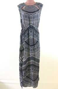 RIVER-ISLAND-grey-black-abstract-print-split-side-maxi-dress-size-10