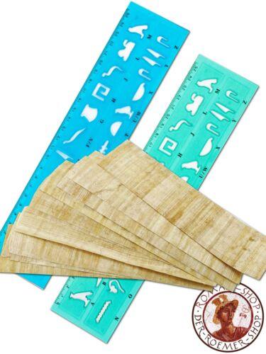 10x Papyrus Lesezeichen Schablone /& Lineal Hieroglyphen