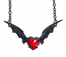 Red Heart Stone Black Bat Wings Necklace Pendant Goth Punk Jewelry Vamp Dracula