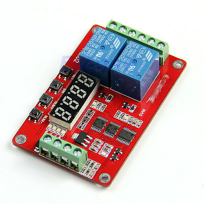 New 24V 2 Channels Relay Self-lock Cycle Timer Module PLC Home Automation Delay