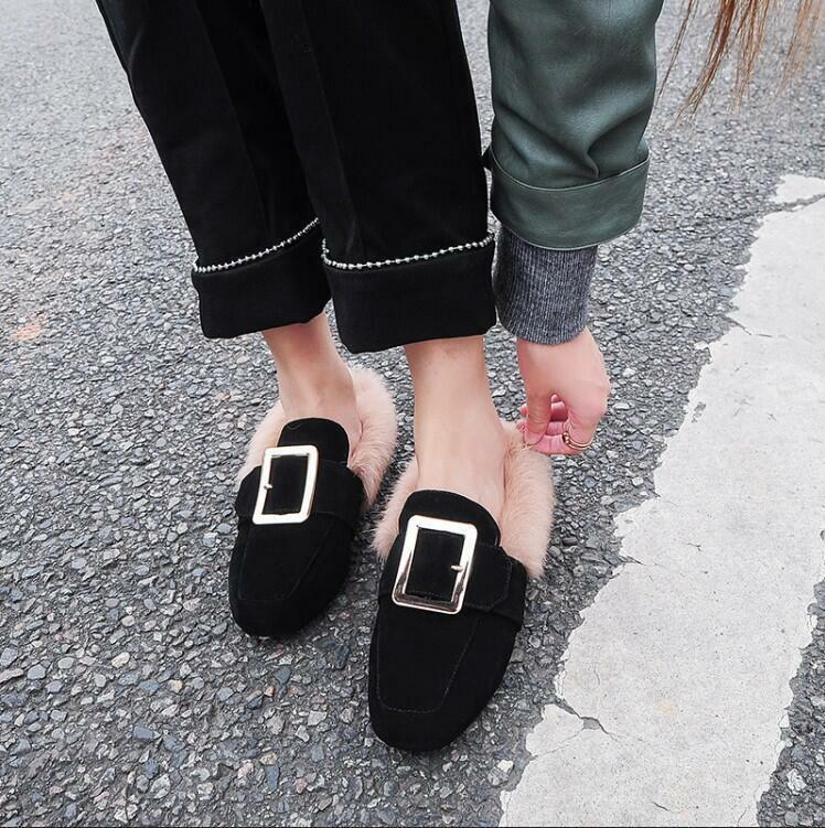 Suede Flat Warm Buckle Pull On shoes Womens Fur Loafers Square Toes S561