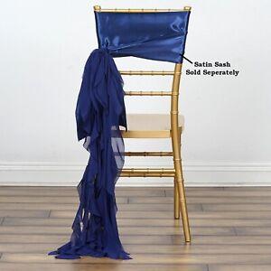 Navy Blue Chiffon Curly Chair Sash Wedding Party Decorations Wholesale Sale Ebay