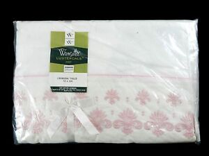 Vtg-Wamsutta-Lustercale-Pink-Crowning-Touch-New-Twin-Flat-Sheet-Shabby-Chic-NOS